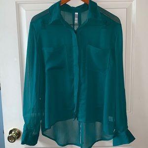 Xhilaration Woman's top sheer  blouse. L